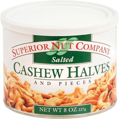 Superior Nut Salted Cashew Halves, 8 oz, 12 Count