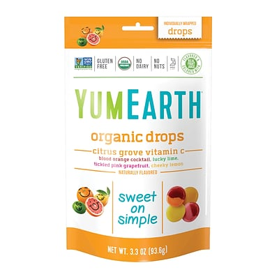 YumEarth Organic Vitamin C Citrus Grove Drops, 3.3 oz., 3 Pack (1155)