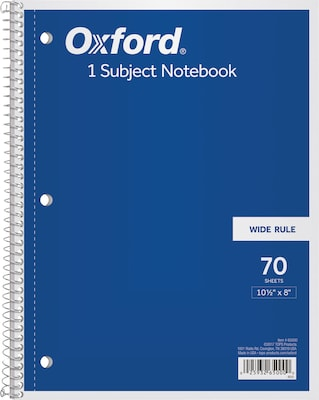 "Oxford 1-Subject Notebook, 8"" x 10 1/2"", Wide Ruled, 70 Sheets, Assorted Colors (65000)"