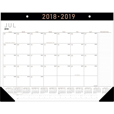 2018-2019 AT-A-GLANCE® Academic Contemporary Monthly Desk Pad, 12 Months, 22 x 17 (AY24X-00-19)