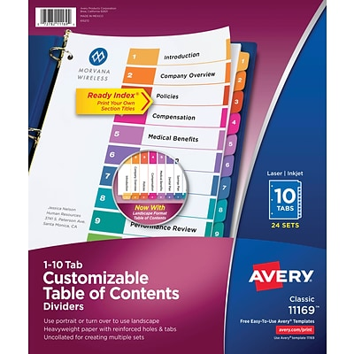 Avery® Ready Index®Table of Contents Dividers for Laser/Inkjet, Numbered 1-10, Multi-Color, Bulk Pk