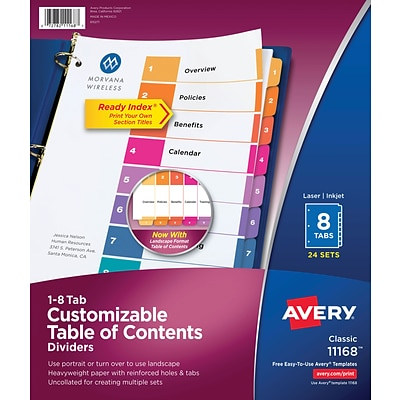 Avery® Ready Index®Table of Contents Dividers for Laser/Inkjet, Numbered 1-8, Multi-Color, Bulk Pack
