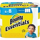 Bounty Essentials Select-A-Size™ Paper Towels, White, 2-Ply, 83 Sheets/Roll, 6 Big Rolls = 8 Regular