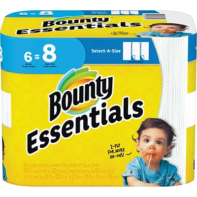 Bounty Essentials Select-A-Size™ Paper Towels, 2-Ply, White, 83 Sheets/Roll, 6 Big Rolls/Carton (74651)