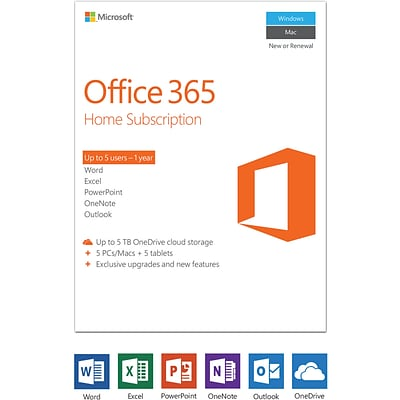 Microsoft Office 365 Home - 1-year subscription, 1-5 users, PC/Mac [Product Key Card]