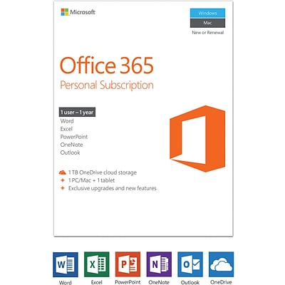 Microsoft Office 365 Personal - 1-year subscription, 1 user, PC/Mac [Product Key Card]