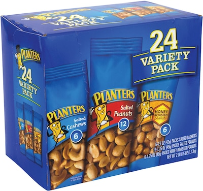 Planters® Nut Variety Pack, 1.7 oz. Bags, 24/Box (220-00423)