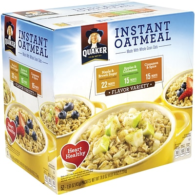 Quaker Oatmeal Flavor Variety Box, 52 Count (220-00482)