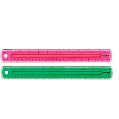 Staples Grip Ruler 12 Assorted Colors (51885)