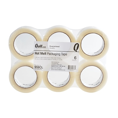 Quill 1.9 Mil Hot Melt Packaging Tape; Clear, 110 yds, 6 pack