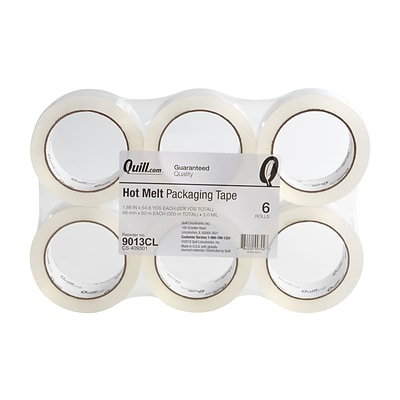 Quill 3.1 Mil Hot Melt Packaging Tape; 55 yds, Clear, 6 Rolls