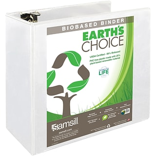 samsill earth s choice 5 inch round 3 ring view binder white