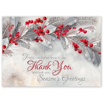 Holiday Cards Online >> Holiday Expressions Sterling Thanks Holiday Cards With Self Stick Envelope