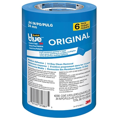 ScotchBlue™ ORIGINAL Painters Tape Value Pack, 0.94 x 60 yds., Blue, 6/Rolls (2090-24EVP)