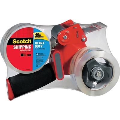 Scotch® Heavy Duty 2 Rolls Shipping Packing Tape with Heavy Duty Dispenser, 1.88W x 54.6 Yards, Clear (3850-2ST)