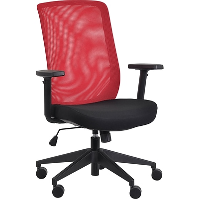 Gene High Back Task Chair, Black Fabric Seat with Red Mesh Back