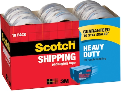 Clear Scotch Heavy Duty Shipping Packaging Tape 3850-6 Shipping /& Moving 3 Core 1.88 x 54.6 Yards Pack of 2 6 Refill Rolls Great for Packing
