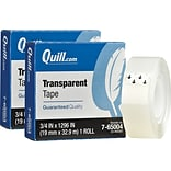 Quill Brand® Transparent Tape; Glossy Finish, 1 Core, 3/4 x 1296