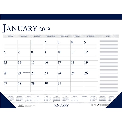 House of Doolittle 2019 Monthly Two Color With Notes Desk Pad Calendar 18.5 x 13 Inches (HOD1646)