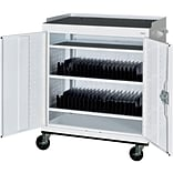 White Mobile Tablet Storage Cart; 43x36x24
