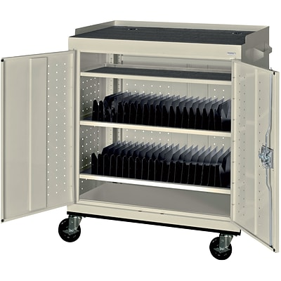 Sandusky Mobile Tablet Storage Cart; Putty, 43Hx36Wx24D