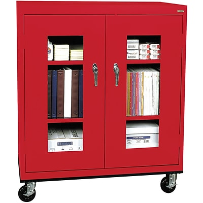 Sandusky® See Thru 36 x 24 x 48 Transport Mobile Clearview Counter Height Cabinet, Red