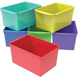 Storex 7H x 9.2W Plastic Double XL Wide Book Bins, Assorted Colors, 6/CT (71126E06C)