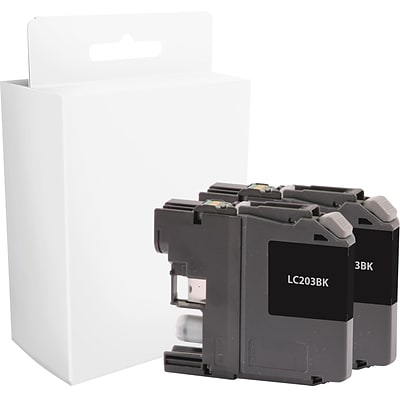 Quill Brand® Remanufactured Brother LC-203 Ink Black Twin Pack (QULLC203BKX2) (Lifetime Warranty)