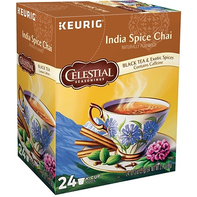 Celestial Seasonings India Spice Chai Tea, Keurig K-Cup Pods, 24/Box (14738)