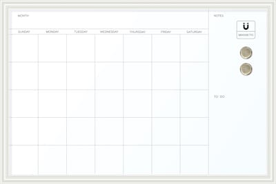 U Brands Magnetic Dry Erase Calendar Whiteboard 30 X 20 White