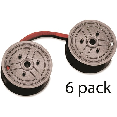 Data Products® R3027 Two-Spool Universal Calculator Ribbon (C-Wind), Black and Red (6 PACK)