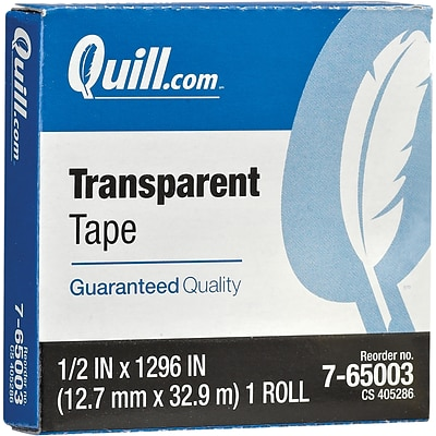 Quill Brand® Transparent Tape, Glossy Finish, 1/2 x 1296, Single Roll