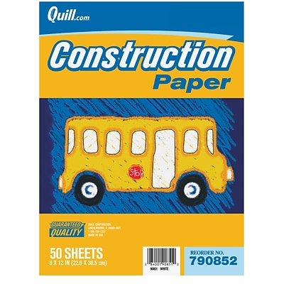 Quill Brand® Lightweight Construction Paper; 9x12, Red, 50 Sheets