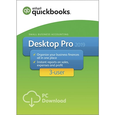 QuickBooks Desktop Pro 2019, for 3 Users, Windows, 1 Year, Download