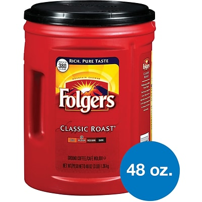 Folgers Classic Roast Ground Coffee, Medium Roast, 48 oz. (2550000529C)