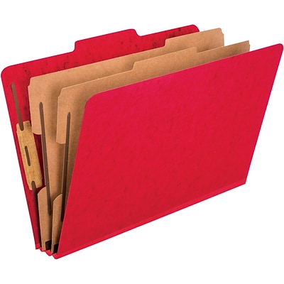 Pendaflex Pressguard Classification Folders, Legal, 2 Dividers/6 Section, Red, 10/Box