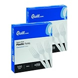 BOGO Quill Brand® Heavy-Duty Plastic Cutlery; Forks, White, 100/Box