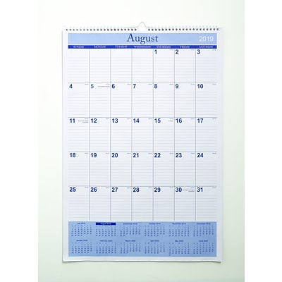 Quill Brand® Academic 17-Month Wall Calendar 22 x 15  (AY20)