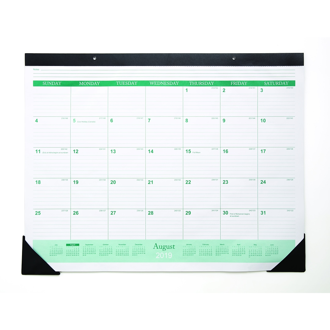 2019 2020 Quill Brand Academic Monthly Desk Pad Calendar Black 17