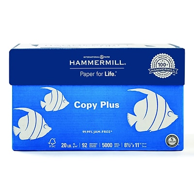 Hammermill Copy Plus 8.5 x 11 Copy Paper, 20 lbs, 92 Brightness, 500/Ream, 10 Reams/Carton (105007)