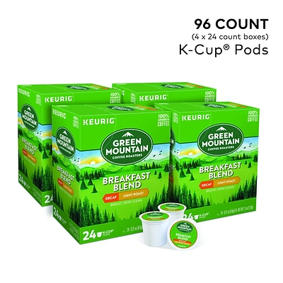 Green Mountain Breakfast Blend Decaf Coffee, Keurig® K-Cup® Pods, Light Roast, 96/Carton (7522)