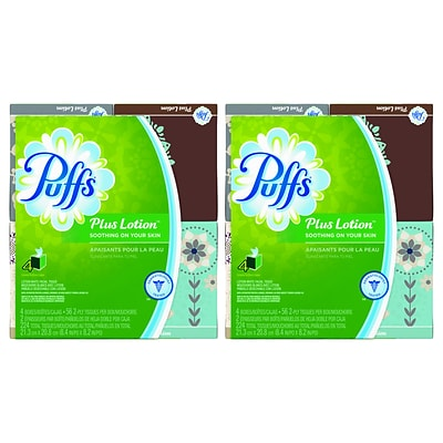 Puffs® Plus Lotion Facial Tissue, 1-Ply, Cube Box, 56 Sheets/Box, 4 Boxes/Pack; 2 Packs, 8 Total Boxes