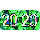 Medical Arts Press® Holographic End-Tab Year Labels, 2020, Aqua