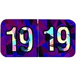 Medical Arts Press® Holographic End-Tab Year Labels, 2019, Violet