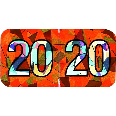 Medical Arts Press Holographic End-Tab Year Labels, 2020, Orange