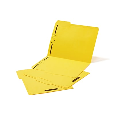 Quill Brand® Standard 3-Tab Colored File Folders, 2-Fasteners, Letter, Assorted Tabs, Yellow, 50/Bx (7354YW)