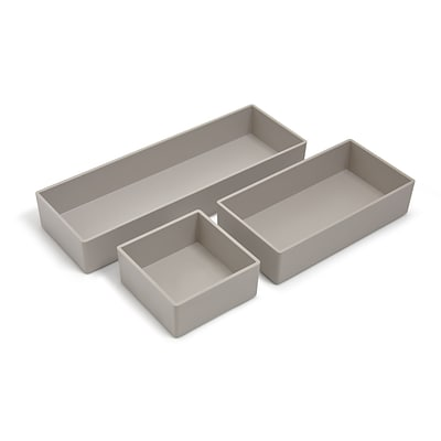 TRU RED™ 3 Piece Plastic Drawer Organizer, Gray (TR55297)