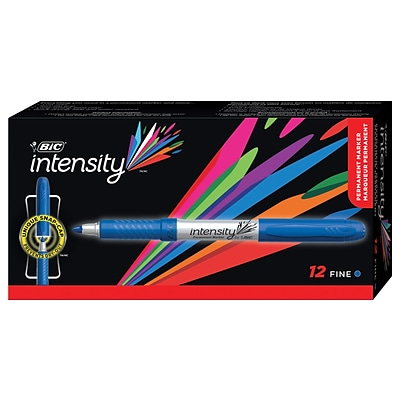 BIC Intensity Permanent Marker, Fine Point, Blue, Dozen (31532)