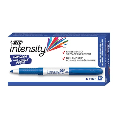 BIC Intensity Low Odor Dry Erase Markers, Fine Point, Blue, Dozen (GDE11BLU)