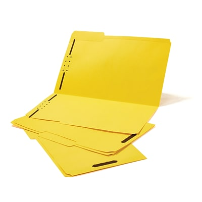 Quill Brand® Standard 3-Tab Colored File Folders, 2-Fasteners, Legal, Assorted Tabs, Yellow, 50/Bx (7358YW)